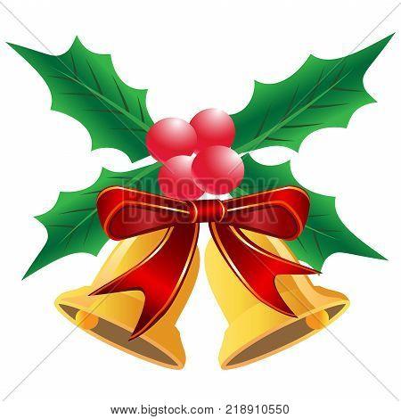 isolated Christmas holly leaf with bells from white background