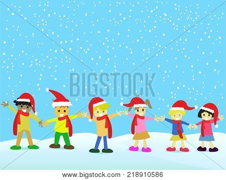 the Christmas background of Christmas kids with Christmas hats on snowing day