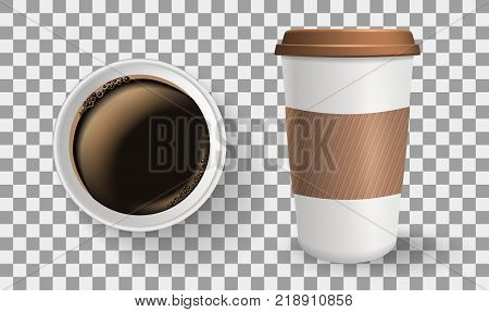 Top view of to go paper coffee cup. Realistic vector composition. Takeaway cup with lid and protective ripple sleeve isolated on the transparent background.