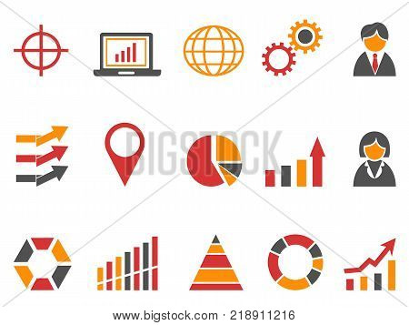 isolated orange red color business infographic icons set from white background