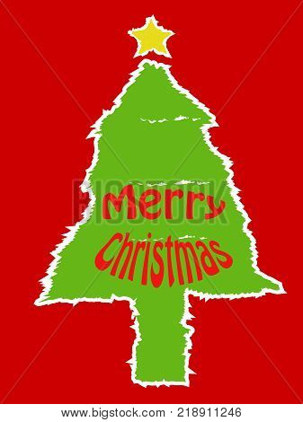 the design of torn paper xmas tree card on red background