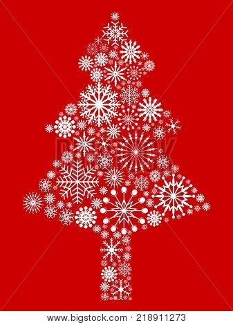 isolated white snowflake Christmas tree on red background for Christmas holiday