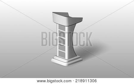 EPS10. Vector White Podium Tribune Rostrum on Isolated background