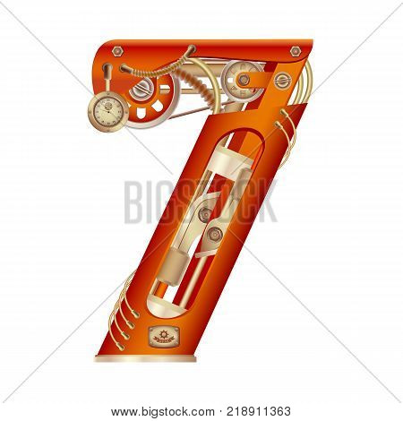 Arabic numeral 7, made in the form of a mechanism with moving and stationary parts on a steam, hydraulic or pneumatic draft. Isolated freely editable objects on a white background.