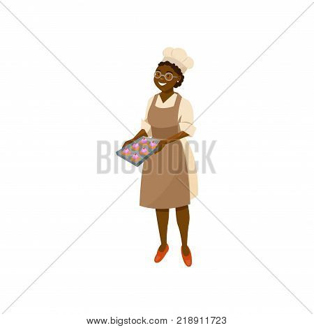 Cartoon lady cook holding tray with freshly baked cupcakes. Smiling black woman character in glasses, chef hat, dress and brown apron. Kitchen worker. Flat vector illustration isolated on white.