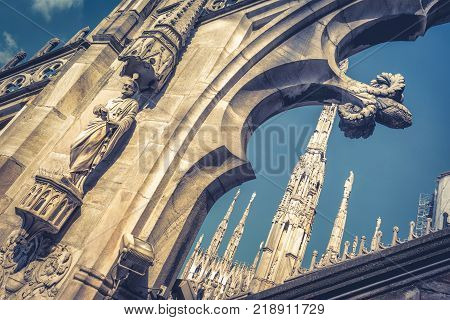 Decoration of the roof of Milan Cathedral (Duomo di Milano) in Milan, Italy. Milan Duomo is the largest church in Italy and the fifth largest in the world.