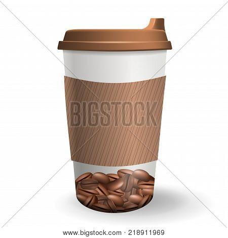 To-go paper coffee cup with lid and ripple protective sleeve. Vector illustration. Realistic takeaway cup with coffee beans pattern isolated on the white background.