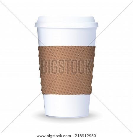 To go paper coffee cup with lid and protective ripple sleeve. Vector illustration. Realistic takeaway coffee cup isolated on the white background.