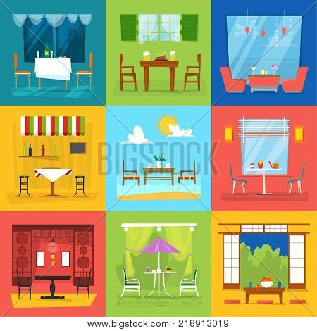 Restaurant interior vector cafe decor dining furniture table and chair for romantic lunch dinner in cafeteria club bar or pub set illustration isolated on background.