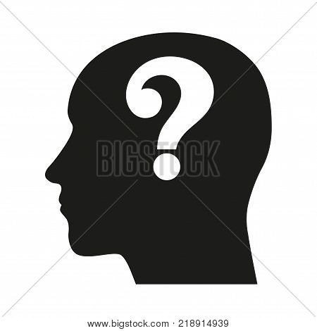 head of a man with a question mark. Illustration on white background
