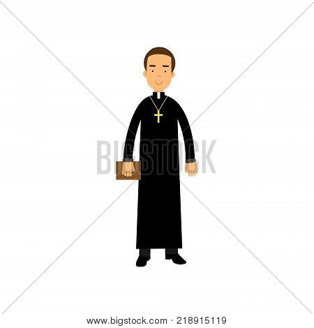 Cartoon priest character wearing traditional black cassock with cross around neck. Young catholic pastor holding Bible in hand. Religious person. Flat vector illustration isolated on white background.