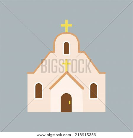 Large Orthodox cathedral. Catholic church with arched windows and golden cross on roof. House of God. Religious architecture. Icon in flat style. Vector illustration isolated on blue background.