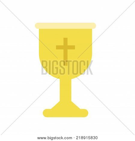 Golden cup or goblet chalice Liturgical vessel for sacramental wine or holy communion. Icon in flat style. Colorful vector illustration isolated on white background.