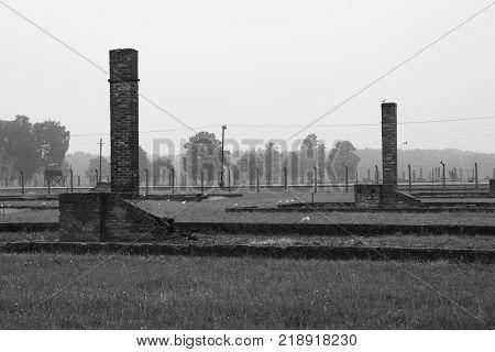 Brick chimneys from the barracks in Birkenau