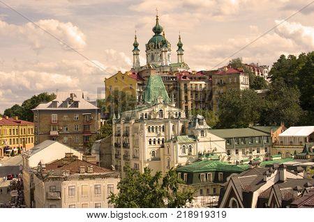 Ukraine Kiev Wallpaper Background. Cathedral St Andrew's Church Rastrelli Andriyivskyy Descent
