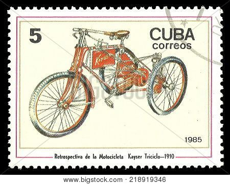 Cuba - stamp 1985 Issue Means of transport Series Motorcycles Kayser Dreirad 1910