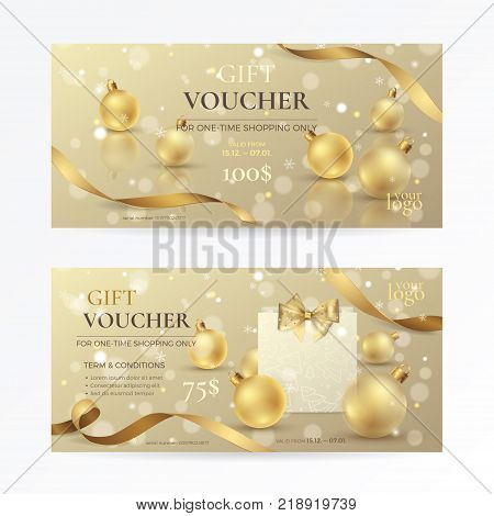 Vector set of luxury gift vouchers with golden ribbon, paper shopping bag, a bow and gold xmas toys. Elegant template for holiday gift card, coupon and certificate for Christmas and New Year offers.