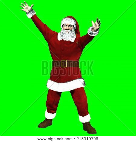 Rendered on chroma key background of Santa Claus in exultant piebdi