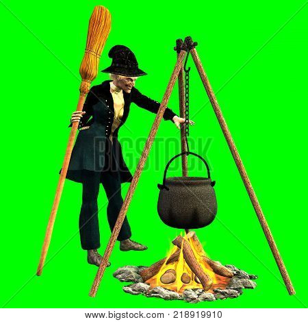 Rendering 3D of befana on chroma key background intent on creating magical concoctions