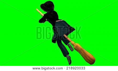 3D rendering on a chroma key background of befana in flight on her broom