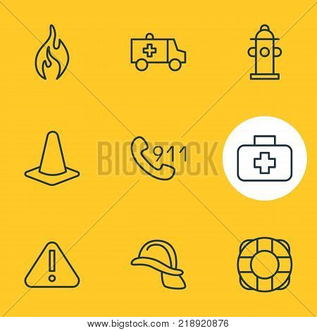Vector illustration of 9 emergency icons line style. Editable set of exclamation, taper, hardhat and other elements.