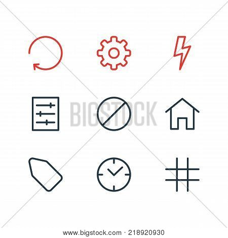 Vector illustration of 9 annex icons line style. Editable set of clock, option, gear and other elements.