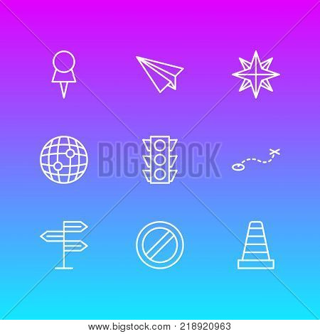 Vector illustration of 9 direction icons line style. Editable set of guidepost, orientation, origami and other elements.