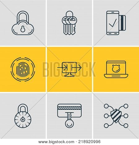 Vector illustration of 9 privacy icons line style. Editable set of data security, key collection, finger identifier and other elements.