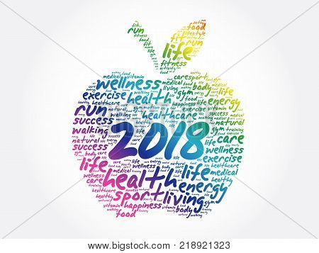 2018 apple word cloud collage health concept background