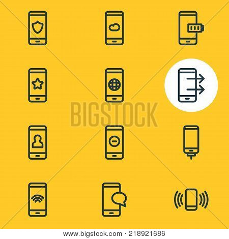 Vector illustration of 12 phone icons line style. Editable set of favorite, ring, worldwide and other elements.