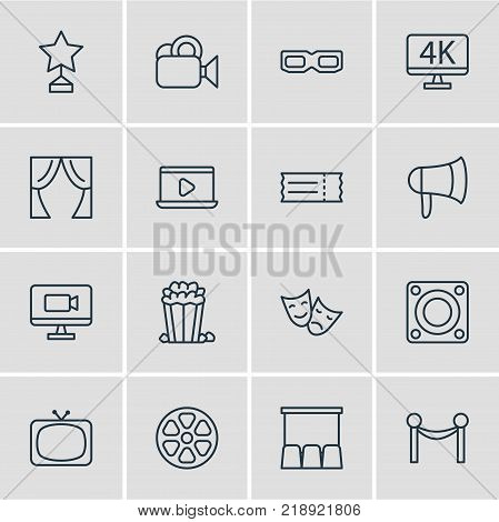 Vector illustration of 16 cinema icons line style. Editable set of tv, tragedy, reward and other elements.