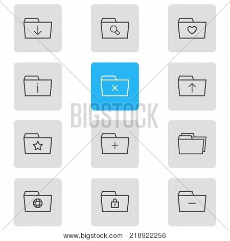 Vector illustration of 12 dossier icons line style. Editable set of remove, minus, closed and other elements.
