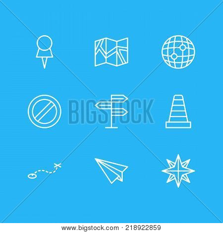 Vector illustration of 9 location icons line style. Editable set of paper geography, block, marker and other elements.