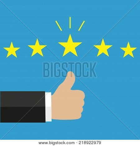 . Thumb up pointing. Rating, evaluation, success, feedback, review, quality and management concept.