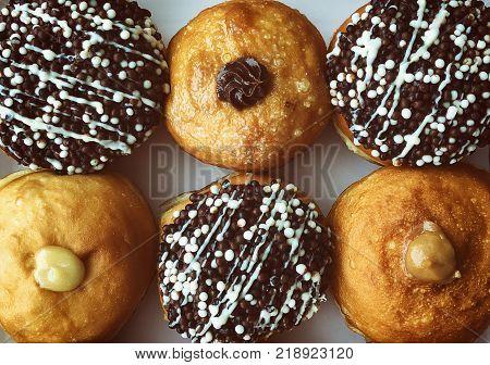 Fresh donuts on bakery display for Hanukkah celebration. Fresh donuts in box