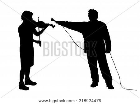 Interview with female violinist musician or recording music sound