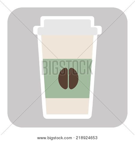 Coffee cup vector illustration. Paper offee cup icon isolated on background. Plastic coffee cup with hot coffee in flat style. Coffee cup beans. EPS10