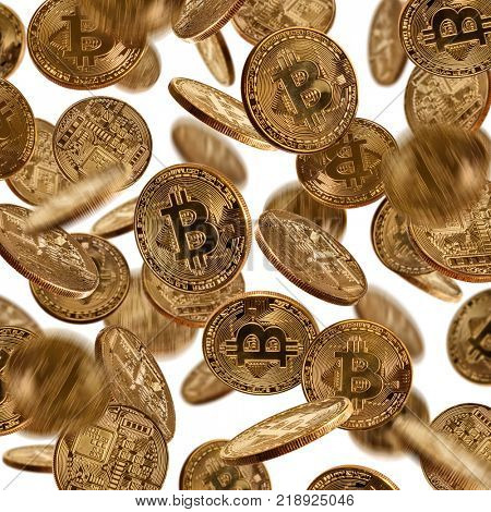 Flying bitcoins in motion, cryptocurrecny of future. Concept of e-commerce, e-business and finance. Isolated on white background