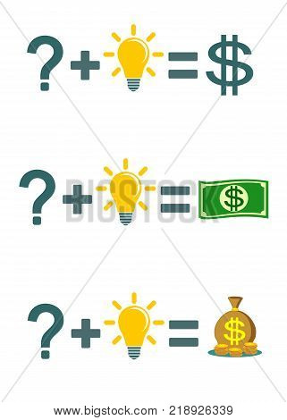 Solving a problem and make money. Solve problems will make rich. Stock vector illustration for poster, greeting card, website, ad, business presentation, advertisement design.