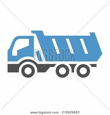 Dumper - gray blue icon isolated on white background