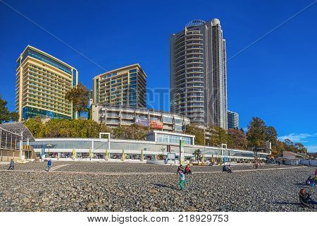 SOCHI, RUSSIA - November 21, 2015: View of the city from a breakwater