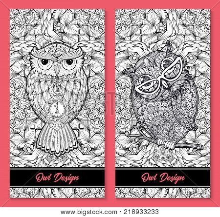 Owl birds set isolated with clock face on stomach on white background vector image. Wild night owl birds hand drawn vector illustration, vertical flyers