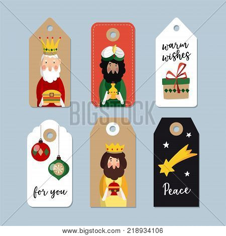 Set of cute Christmas gift tags. Three magi. Biblical kings Caspar, Melchior and Balthazar. Vector illustration backgrounds. Isolated vector objects for Spanish Dia del Reyes holiday.