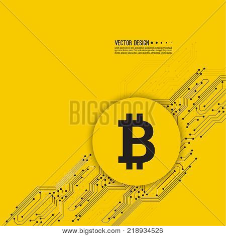 Abstract background with high tech circuit board texture. Crypto currency Bitcoin internet virtual money. Vector icon  bitcoin digital cryptocurrency. Blockchain based secure. Electronic motherboard.