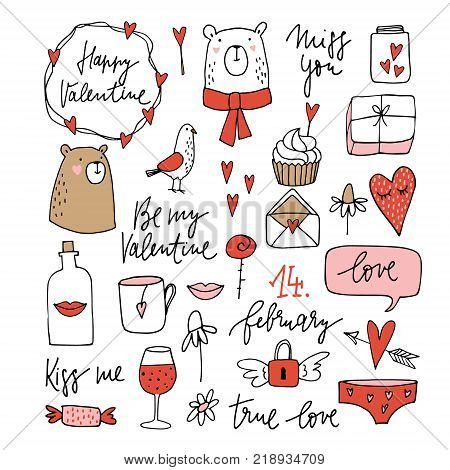 Set of cute Valentines doodle sketches. Wedding clip-arts of bears, dove, glass of wine, lips, envelope and hearts, simple design. Isolated hand drawn vector objects.