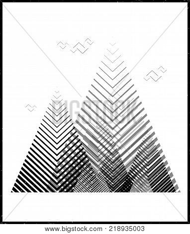 Vector geometric triangle background, abstract mountains.Conceptual background, with mountains.Flat design, with minimal elements.Use for card, poster, brochure,banner. Interior print.Primitivism.