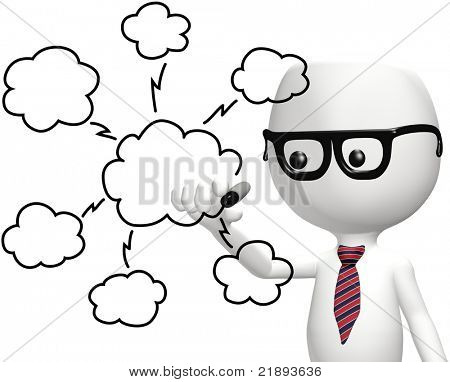Smart IT programmer drawing cloud computing technology plan diagram
