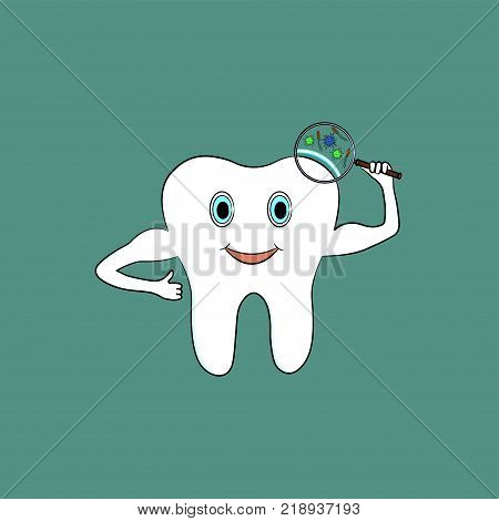 The cartoon tooth is protected from harmful bacteria. Vector illustration