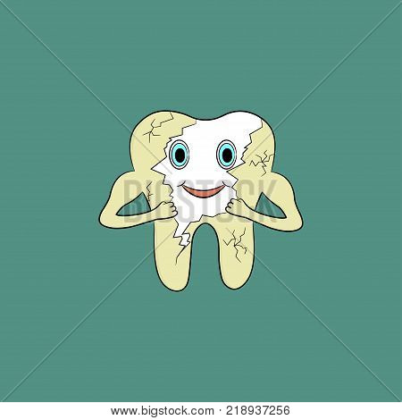 Cartoon tooth gets rid of yellow plaque on enamel. Vector illustration