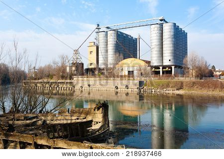 Industrial archeology along Sile river. Old abandoned factory. Italian landmark